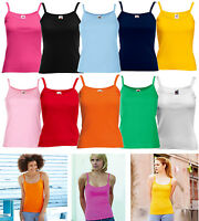 NEW FRUIT OF THE LOOM LADY FIT, STRAP T-SHIRT, VEST STRAPPY TOP CAMI, SIZES 8-16