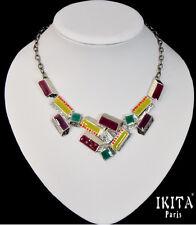 Luxus Statement Halskette  IKITA Paris Kette Emaille Metall Grau Vintage Strass