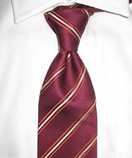 $195 CHARVET PARIS PLACE VENDOME SILK TIE BURGUNDY/GOLD/SALMON REPP STRIPES NEW