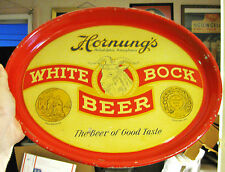 (A) 1930S HORNUNG'S BOCK BEER REVERSE OVAL METAL TIN LITHO TRAY HORNUNG PHILA PA