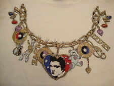 Vintage 90's Elvis Presley Glitter Necklace Art Rockabilly T Shirt Adult Size L