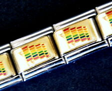 RAINBOW WAVY FLAG Gay Pride ENAMEL ITALIAN MODULAR CHARM, 9mm, Single Link