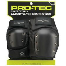 Protec STREET Skateboard KNEE AND ELBOW Pads SET BLACK SMALL