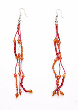 DELICIOUS BLOOD ORANGE THREE FRINGE BEAD HOOK EARRINGS FOR AN EXOTIC LOOK (ZX38)