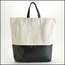 RDC7452 Authentic Celine Canvas and Black Leather Vertical Cabas Tote Bag