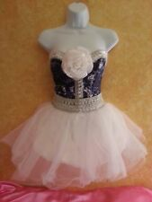 HOT DENIM DIAMONDS TIE DYE CORSET WHITE TULLE TUTU SKIRT DRESS PARTY PROM BRIDAL