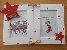 Personalised Gift Christmas Great Nan And Grandad Double Photo Frame 6x4