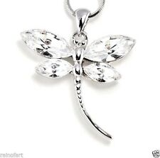 "DRAGONFLY W Swarovski Crystal White Clear Color Wings Necklace Gift 18"" Chain"