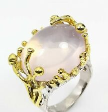 SIZE 8.75 Large Natural Pink Blush Rose Quartz 925 Sterling Silver Cocktail Ring