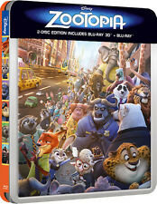Zootopia (STEELBOOK) (Blu-ray 3D + Blu-ray) (3D/2D) (All Region) (2016) (New)