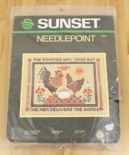 VTG 1981 SUNSET Needlepoint The Rooster May Crow But Hen Delivers Goods Kit 6960