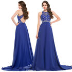 Beaded Hollowed Back Chiffon Satin GK Ball Gown Evening Prom Dress UK Size 4-18+