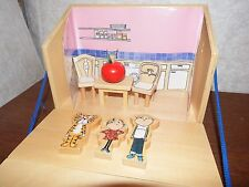 RARE Charlie and Lola playset dolls house figure toy wooden including furniture