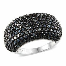 Micro Pave Set THAI BLACK SPINEL Cluster RING in Plat / Sterling Silver 5.88 Cts