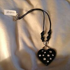 Brighton Necklace Jazz Baby Heart Black Crystals Diva Reversible Bling New Tags