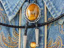 NEW HAND CRAFTED IN U.K.TIGERS EYE STONE BOLO TIE SILVER METAL LEATHER WESTERN