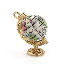 Vintage 14k Yellow Gold Multicolor Enamel Spinning Globe Pendant