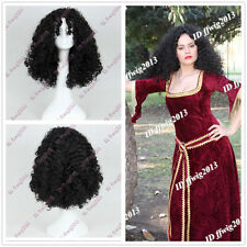 """Tangled"" Mother Gothel black Walt curly wave cosplay wigs C162 Gift +a wig cap"
