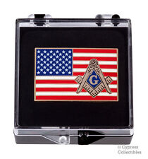 MASONIC AMERICAN FLAG ENAMEL LAPEL PIN FREEMASON SQUARE COMPASS MASON US TIE new