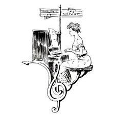 LADY PIANIST COLLAGE music piano unmounted rubber stamp lg #10