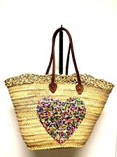 Straw & Sequin HEARTS  Shopping French Market Basket Bag Moroccan Tote