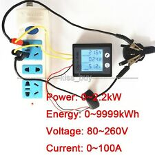 AC 80~260V 100A LCD Digital Combo Monitor Voltage Current kWh Energy Power Meter