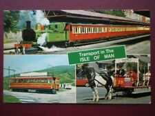 POSTCARD ISLE OF MAN TRANSPORT - TRAIN - TRAM - HORSE DRAWN