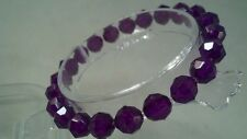 Beaded Bracelet New Purple Acrylic Crystal 6mm Faceted Beads Stretch Set of 3