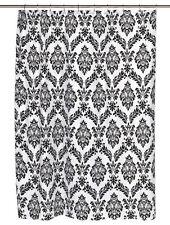 Black White DAMASK Regal Shower Curtain NEW Fleur de Lis VELVET