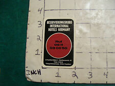 Vintage High Grade PAPER: IHA--international hotels germany card. undated