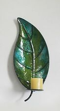 METAL LEAF WALL MOUNTED CANDLE HOLDER SCONCE FOR HOME DECOR IN LIGHT GREEN