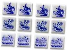 """New Reutter Porzellan dolls house miniature 13mm 1/2"""" blue Dutch tile set of 12"""