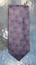 Stackpole Moore Tryon necktie gray green blue paisley medallions on plum