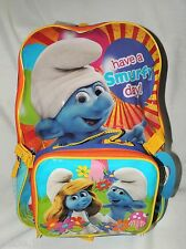 """THE SMURFS  LARGE  BLUE  BACKPACK  16""""x12""""x5""""  WITH INYLON  INSULATED LUNCH BAG"""