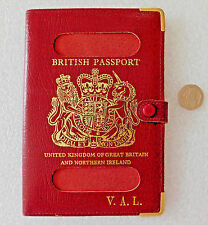 Vintage cover for OLD British UK passport English leather holder initials VAL