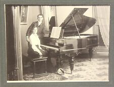2 Lg Cabinet Photographs of a Man & Woman - Grand Piano, Typewriter c1900 Denver