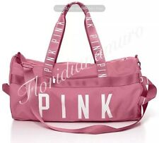 New Victoria's Secret PINK Gym Duffle Travel Tote Bag Soft Begonia Rose Logo NIP