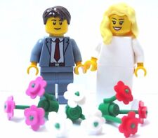 Lego Wedding Minifigure Figure Bride Blonde Hair & Groom Sand Blue Suit Red Tie