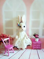 "OOAK 9"" Needle Felted * EASTER Bunny Rabbit Baby Girl * by Artist Scuznyuki"