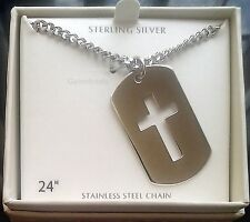 "Men's Religious Sterling Silver Dog Tag Cross Pendant w 24"" Necklace Chain-NEW"