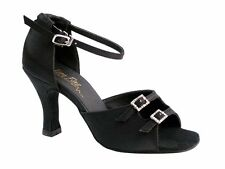 1620 Black Satin Ballroom Salsa Mambo Latin Dance Shoes heel 3 Size 7 Very fine