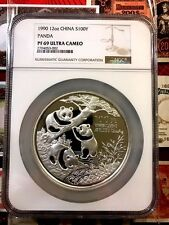 China 1990 12 oz 100 Yuan Silver Proof Panda NGC PF69Ultra Cameo SN#2704053-002