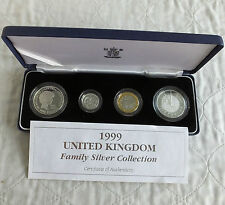 1999 UK FAMILY SILVER PROOF 4 COIN SET - MINTAGE 500 - boxed/coa