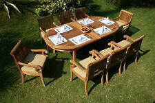 9 PC TEAK DINING SET GARDEN OUTDOOR PATIO FURNITURE NEW D14 - GIVA DECK