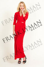 NEW FRANK LYMAN RED METALLIC MAXI OCCASION DRESS – UK SIZE 12