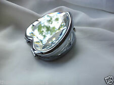 Exquisite HEART Clear Cut Glass & Silver TRIPLE View COMPACT MIRROR 2 x Magnify