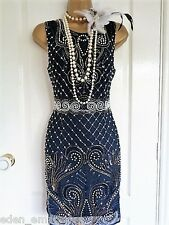 NEW TFNC beaded 1920's flapper style dress size S UK 8 US 4 EU 36 Great Gatsby