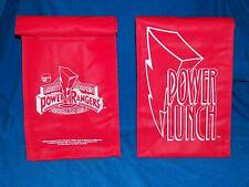 2 MIGHTY MORPHIN RED POWER RANGERS official fan club POWER LUNCH Bag 1994 NEW