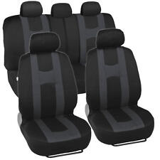 New Rome Sport Seat Covers Set Front & Rear Racing Stripes Charcoal on Black