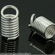 100 Silver Plated 6x4mm Cord Thong Ends Coil Ends Coil Crimps Findings